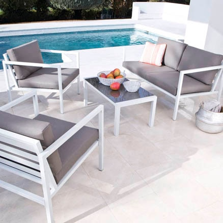 Conjuntos de muebles con mesa baja leroy merlin for Sofa exterior aluminio blanco