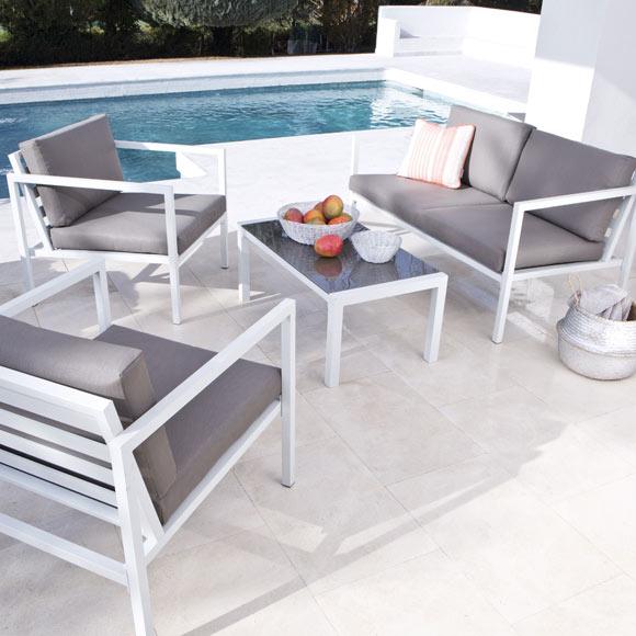 Set de aluminio lisboa blanco marr n ref 17783556 leroy for Fabrica de muebles de jardin en aluminio