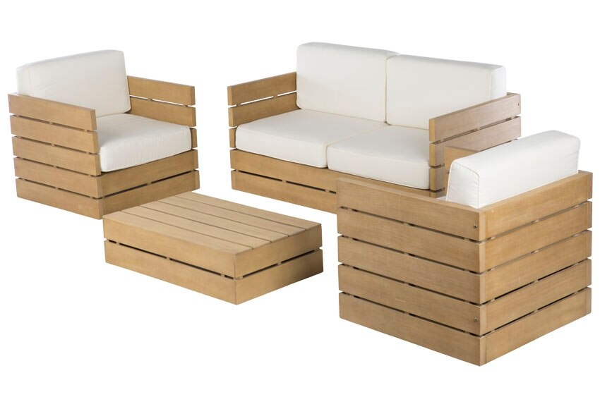 Conjunto madera de acacia montevideo crudo ref 010115 for Muebles madera montevideo