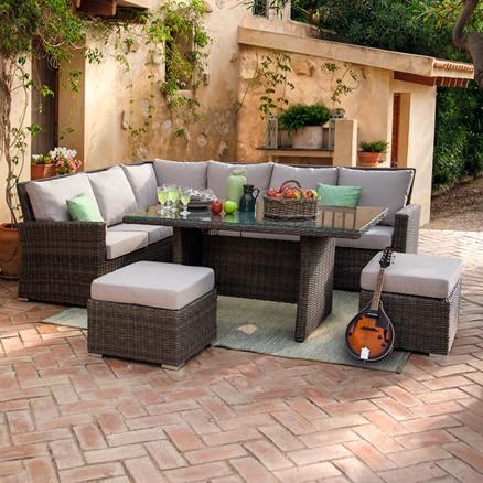 Conjuntos de sof s y mesa baja leroy merlin for Sofa rinconera jardin