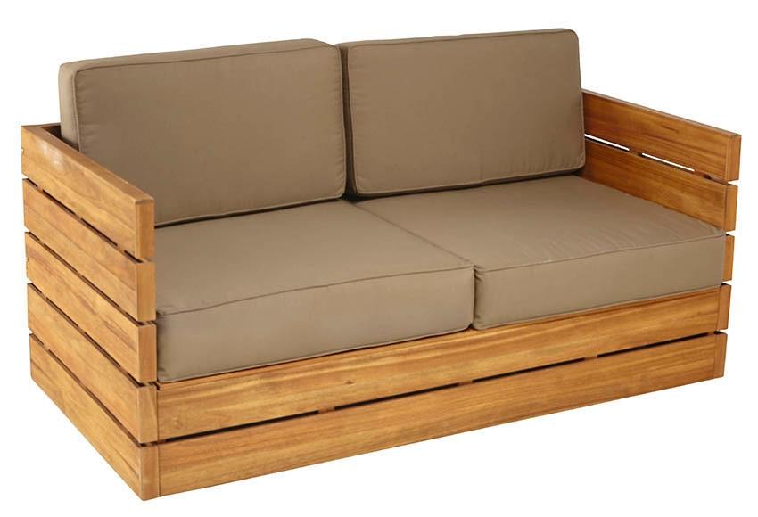 Sof de madera de teca y poli ster montevideo ref for Muebles de teca interior