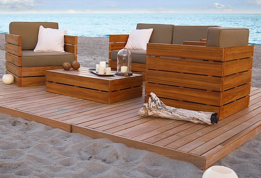 Sof de madera de teca y poli ster montevideo ref - Sofa exterior leroy merlin ...