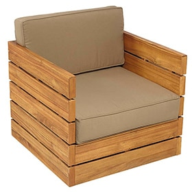 Sof de madera de teca y poli ster montevideo ref for Muebles madera montevideo