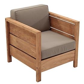 Sill n de madera de teca y poli ster quebec ref 17354946 for Sillon terraza madera