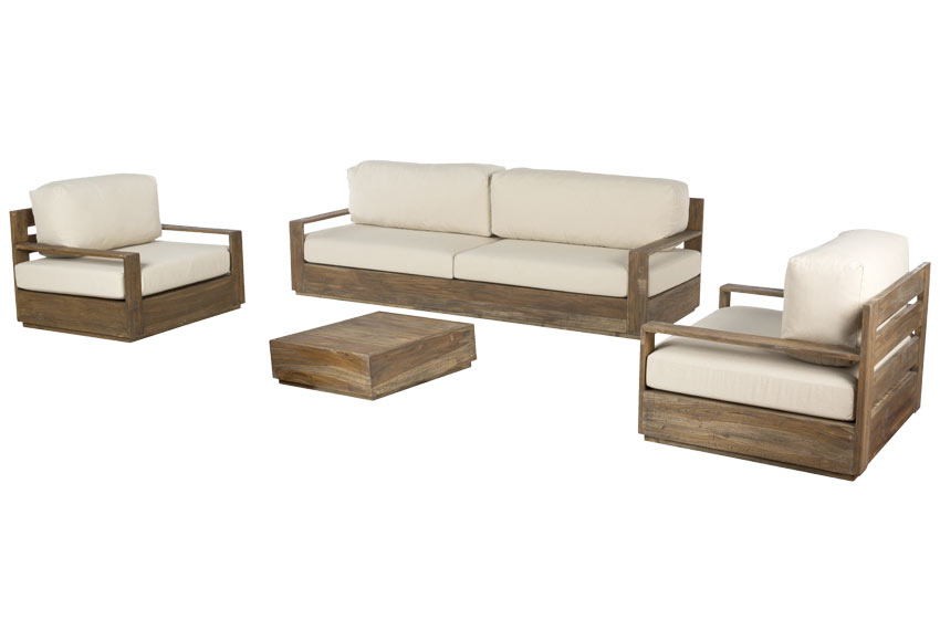 Sof de madera de teca genteng bahia ref 19190941 leroy for Sofa exterior leroy