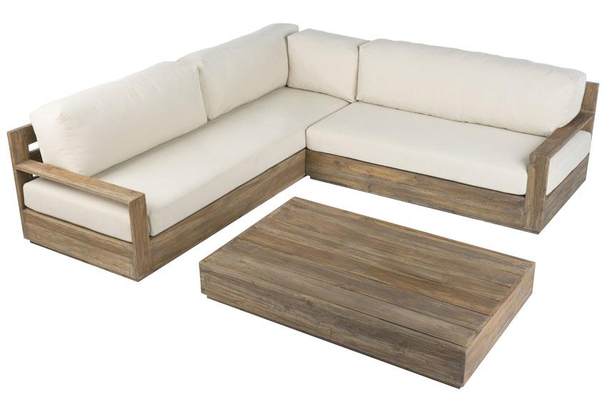 Sof de madera de teca corner bahia ref 19191263 leroy for Sofa de madera para terraza