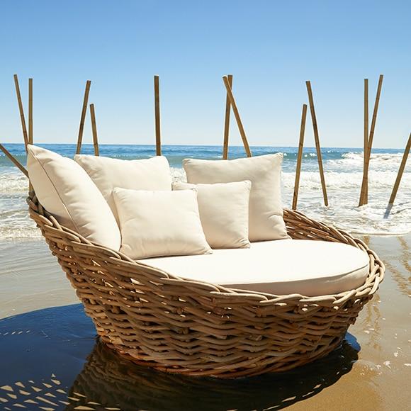 Sofa De Ratan Natural Y Poliester Marbella Ref 17355296 Leroy Merlin