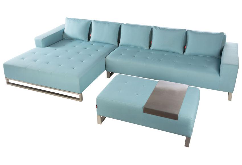 Chaise longue acero luxor turquesa ref 19188946 leroy for Chaise longue azul turquesa
