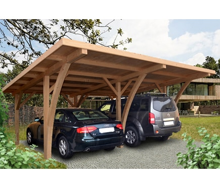 Cochera madera de 6 x 5 04 m grancey ref 15554364 leroy for Carpas jardin leroy merlin