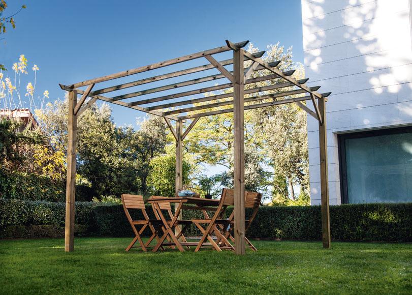 P rgola de 3 x 3 m ancolie ref 18622023 leroy merlin - Postes de madera para pergolas ...