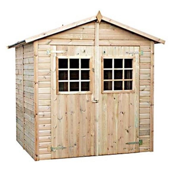 Caseta de madera de pino tratada de 2 35 x 2 24 x 2 27 m for Madera de pino tratada