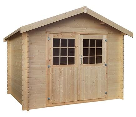 Caseta de madera de pino de 3 17 x 2 40 m flore ref for Casas de madera jardin leroy merlin