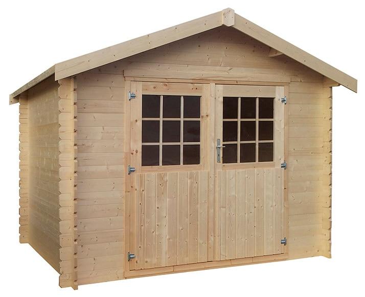 Caseta de madera de pino de 3 17 x 2 40 m flore ref - Casetas de resina leroy merlin ...