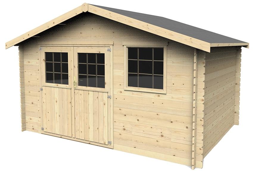 Caseta de madera de abeto de 4 27 x 3 15 m florak ref for Caseta resina leroy merlin
