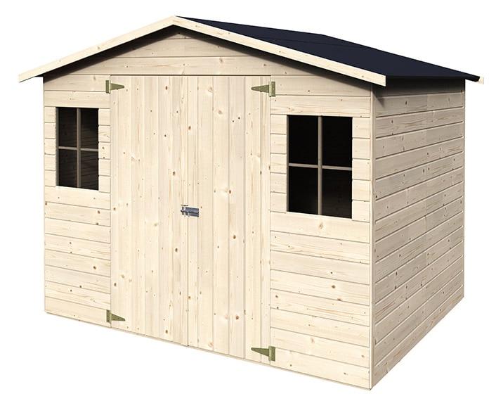 Caseta de madera de pino de 2 65 x 2 02 m naterial kluane for Caseta de jardin de madera