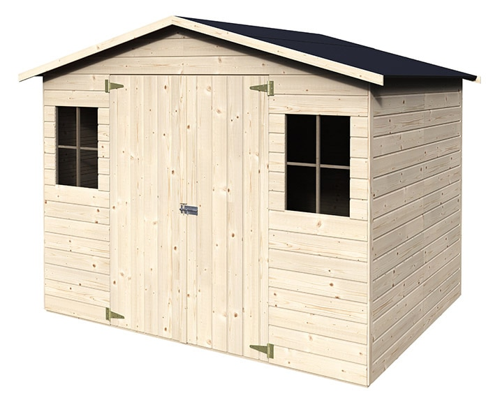 Caseta de madera de pino de 2 65 x 2 02 m naterial kluane for Caseta jardin leroy merlin