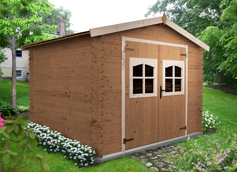 Caseta de madera de abeto de 3 x 2 44 m puget ref for Bordillos para jardin brico depot