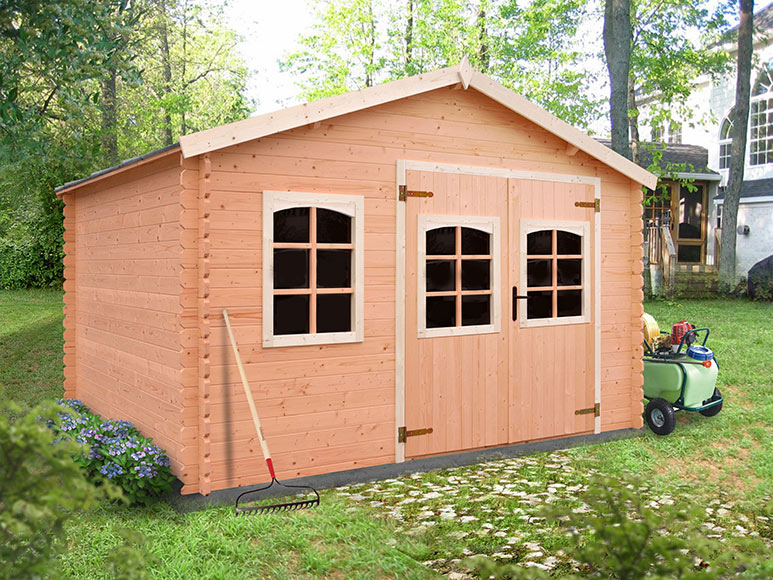 Caseta de madera de abeto de 3 7 x 3 02 m montlieu ref - Casetas de jardin leroy merlin ofertas pau ...