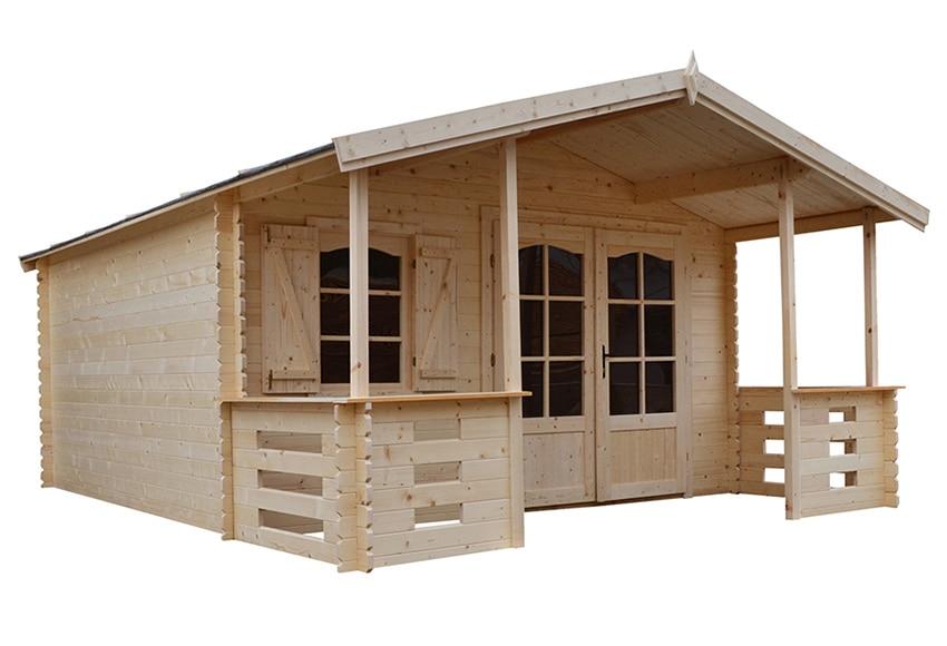 Caseta de madera de abeto de 4 2 x 5 57 m lauris ref - Como hacer caseta de madera ...
