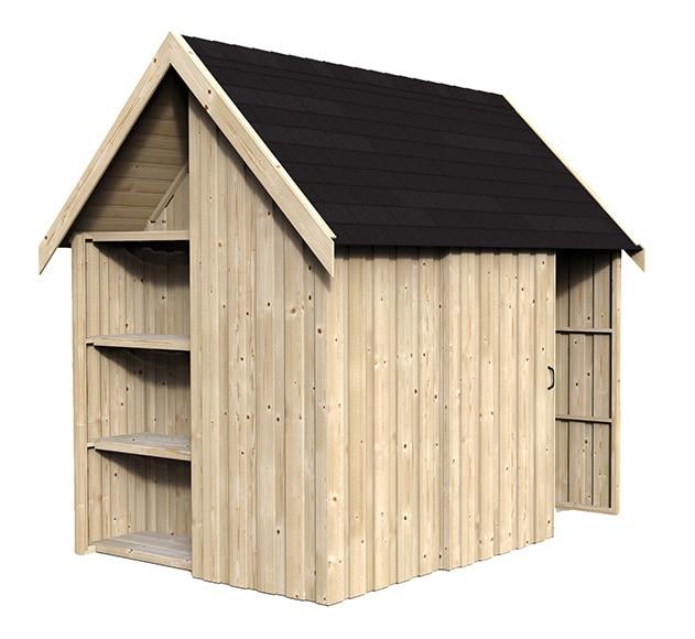 Caseta de madera de pino de 3 23 x 2 26 m naterial vertex for Caseta resina leroy merlin