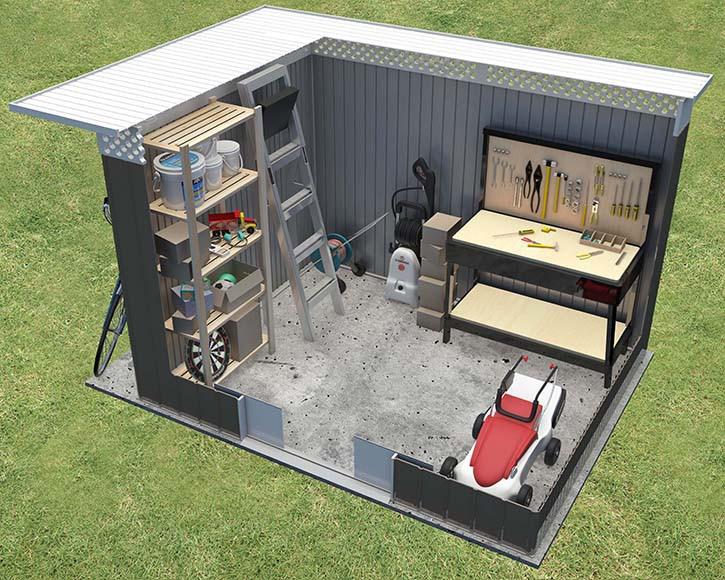 Caseta de acero de 2 57 x 2 06 m malm ref 16766050 for Caseta acero galvanizado
