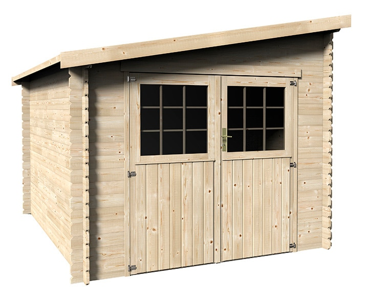 Caseta de madera de pino de 2 68 x 3 41 m canada ref for Caseta resina leroy merlin