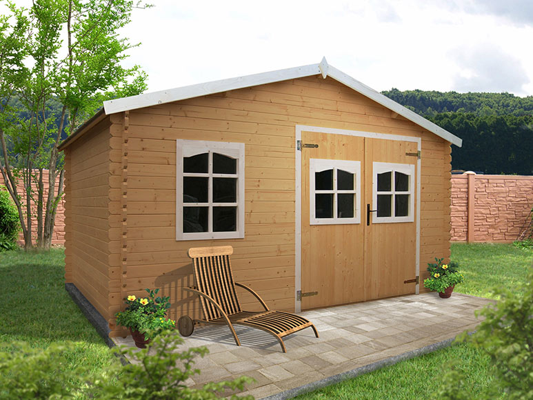 Caseta de madera de abeto de 4 20 x 3 02 m chantelles for Vendo caseta de madera para jardin