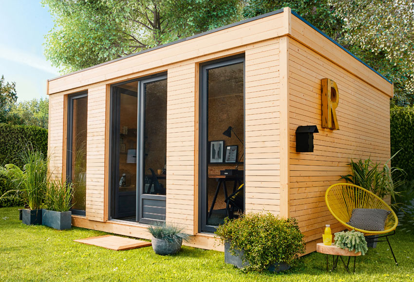 Caseta de madera 4 97 x 2 49 x 3 65 m eco lodge m2 for Caseta jardin leroy merlin
