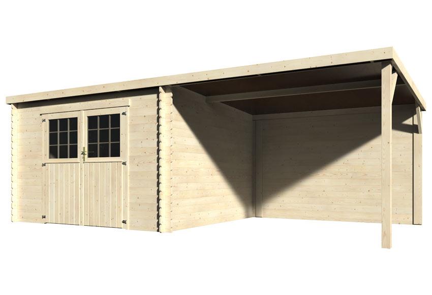 Caseta de madera 3 x 1 98 x 2 72 m eden 28 mm ref for Porche jardin madera