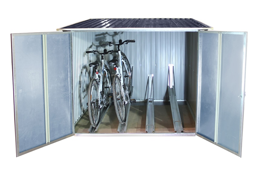 Arc n de acero de 4895 l guarda bicis ref 16755144 for Guarda herramientas para jardin