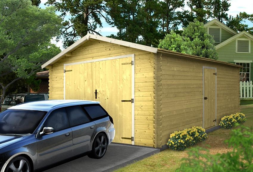 Garaje de madera de abeto de 21 45 m2 beaulieu ref - Garajes prefabricados de madera ...