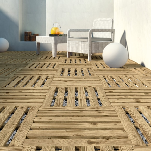 Baldosa pino 50x50 cm ref 14098532 leroy merlin - Imitacion madera exterior ...