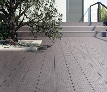 Lamas composite antracita 14 5x240 cm ref 16067044 for Suelos para terrazas exteriores leroy merlin