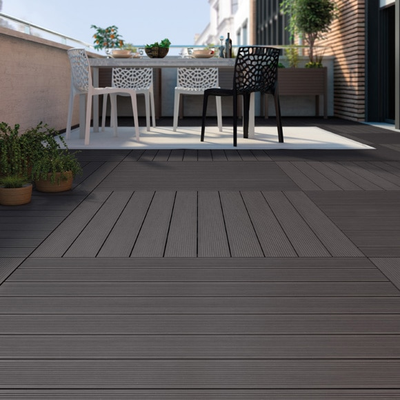 Baldosa composite antracita 100x100 cm ref 16723574 for Suelos para terrazas exteriores leroy merlin