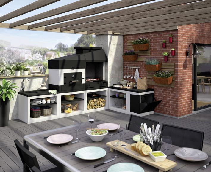 Barbacoas de obra con campana tuozi kitaway bbq otte ref for Parrillas para casas modernas