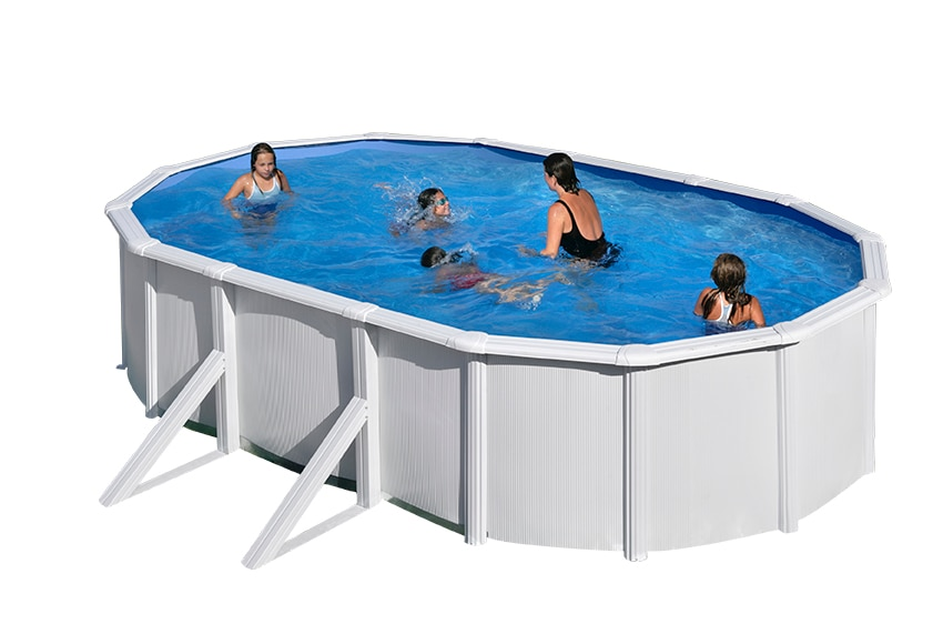 Piscina desmontable gre acero blanca con refuerzos ref for Piscina desmontable acero