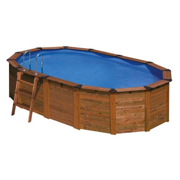 Piscina desmontable gre acero ovalada panel madera ref for Leroy piscinas desmontables