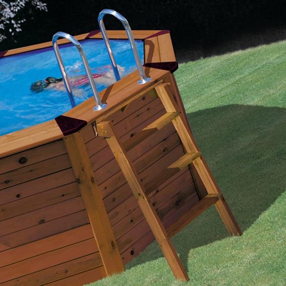 Piscina desmontable gre acero ovalada panel madera ref - Piscinas de madera leroy merlin ...