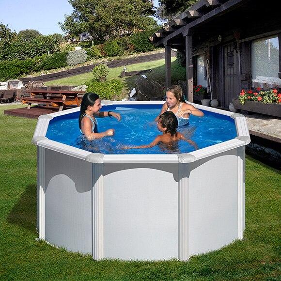 Piscina desmontable gre acero redonda blanca ref 15100113 for Calcular metros cubicos piscina redonda
