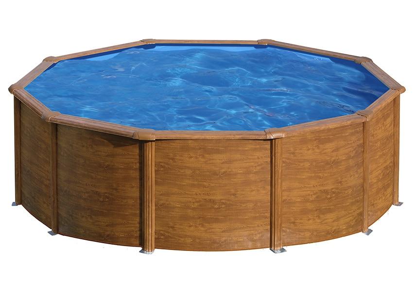 Piscina desmontable gre acero redonda imitaci n madera ref for Leroy merlin piscina