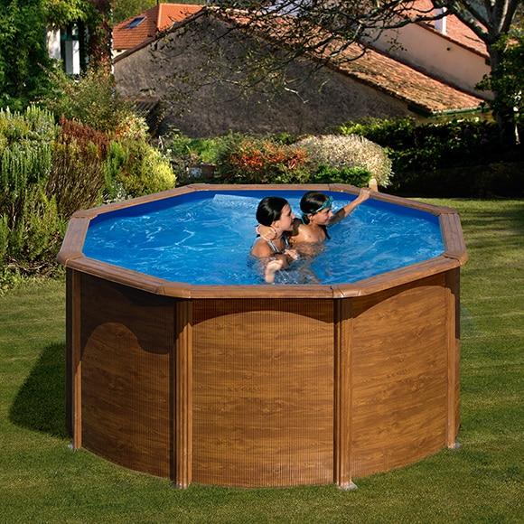 Piscina desmontable gre acero redonda imitaci n madera ref for Leroy piscinas desmontables