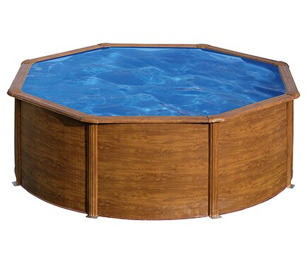 Piscina desmontable gre acero redonda imitaci n madera ref 15171576 leroy merlin - Piscina desmontable acero ...