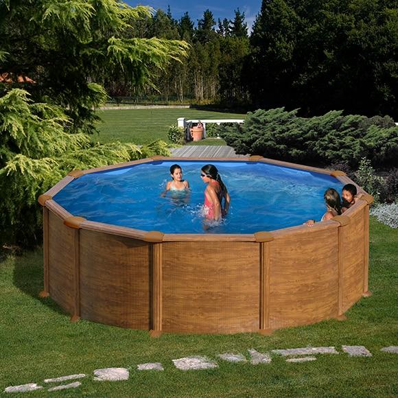 Piscina desmontable gre acero redonda imitaci n madera ref for Calcular metros cubicos piscina redonda