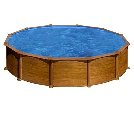 Piscina desmontable gre acero redonda imitaci n madera ref 17548013 leroy merlin - Piscina desmontable acero ...