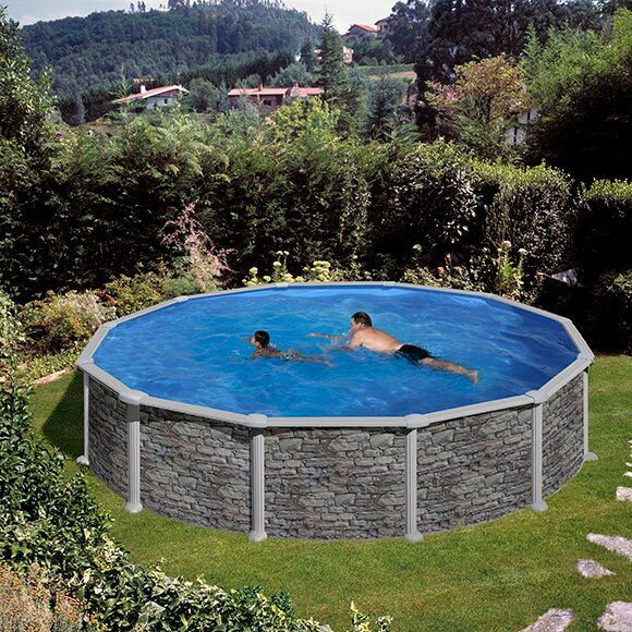 Piscina desmontable gre acero redonda imitaci n piedra ref for Calcular metros cubicos piscina redonda