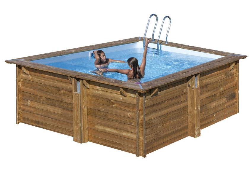 Piscina desmontable gre madera cuadrada ref 19645122 - Piscinas de madera leroy merlin ...