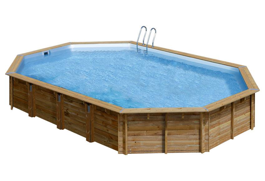 Piscina desmontable gre madera ovalada ref 19645115 for Piscinas madera leroy merlin