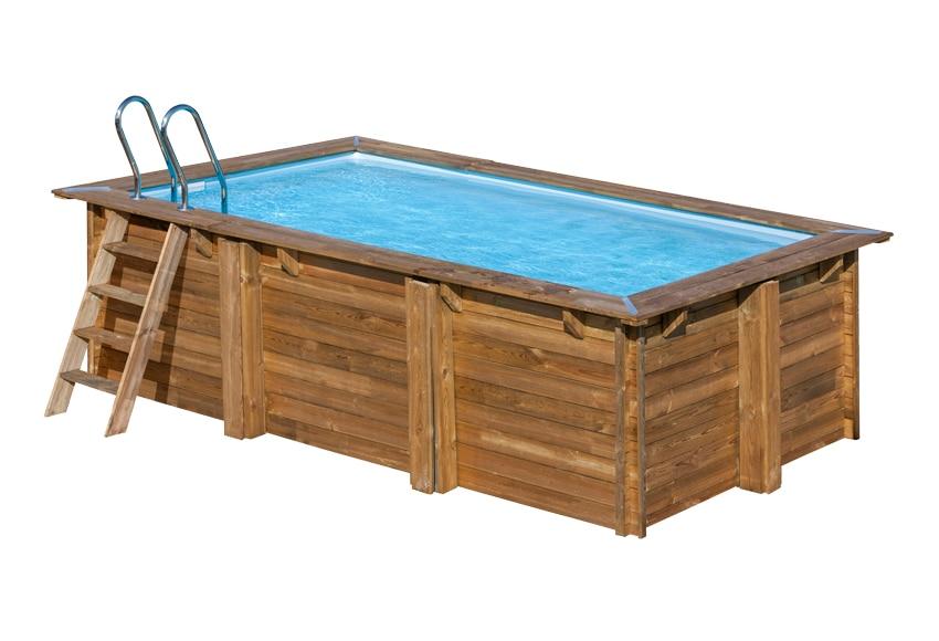 Piscina semi enterrable gre madera rectangular ref - Piscinas de madera leroy merlin ...