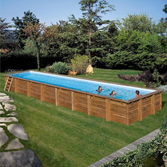 Piscina semi enterrable gre madera rectangular ref for Piscinas de madera leroy merlin