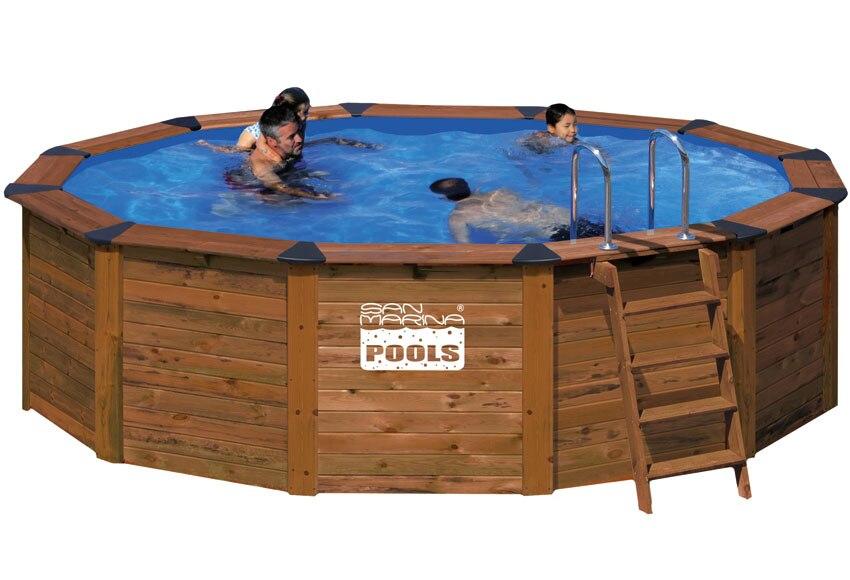 Piscina redonda san marina madera redonda ref 493961 - Piscinas de madera leroy merlin ...